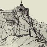 Фортеця Тустань в Карпатах Х- ХІVст. Графічна репродукція М. Рожка
