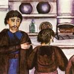 Де ля Фліз. Фрагмент малюнку інтер'єра хати з керамічним посудом на миснику. Київське Полісся, 1854