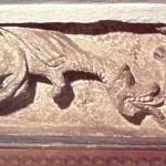 Частина кам'яного блоку з зображенням дракона з порталу галицького Успенського собору. ХІІ ст.