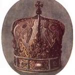Корона короля Данила Романовича, прислана йому Папою Інокентієм IV на його коронацію в Дорогочині. (За малюнком з оригіналу худ. А. Скрутка). 1253. (Перероблена пізніше на владичу митру)