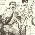 Л.Жемчужников. Сліпий кобзар з поводирем. Офорт. 1861