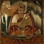 """Панно """"Козак Мамай"""". 1957 р. Автор - Саєнко О.Ф. (1899 - 1985). Дерево, соломка, інкрустація, 100 х 120 см. ДМУНДМ"""