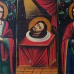 """Ікона тридільна, """"Св.Вм. Микита, Голова Іоана Хрестителя, Св. Вм. Євдокія."""" Кін. ХІХ – Поч. ХХ ст."""
